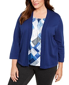 Plus Size Sapphire Skies Beaded-Trim Layered-Look Top