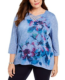 Plus Size Autumn Harvest Beaded Lattice-Neck Top