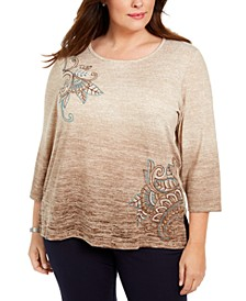 Plus Size Walnut Grove Embroidered Ombré Knit Top