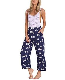 Cut Through Floral-Print Pants