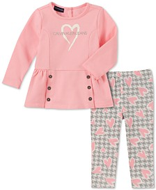 Calvin Klein Little Girls 2-Pc. Peplum Top & Printed Leggings Set