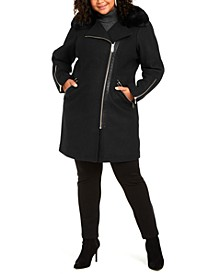 Plus Size Faux-Fur-Trim Asymmetrical Coat