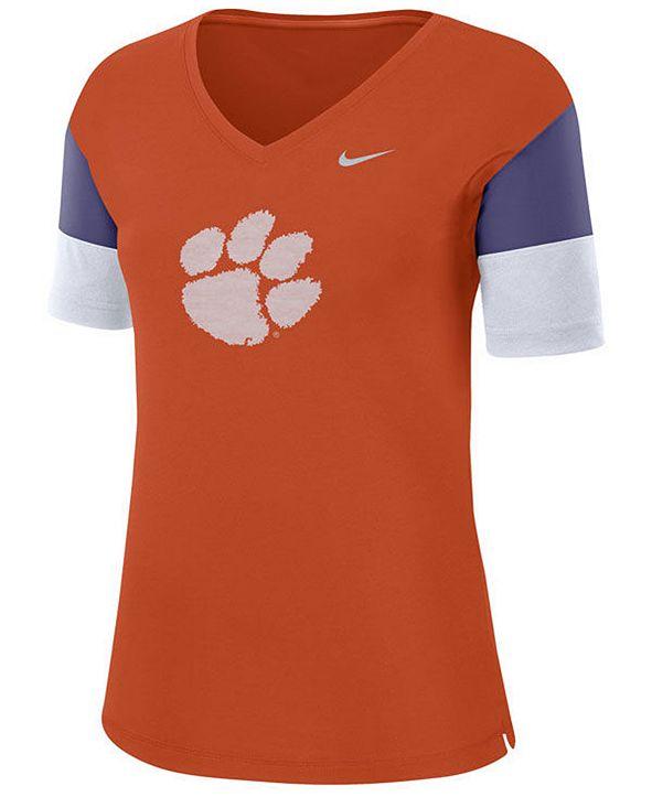Nike Women's Clemson Tigers Breathe V-Neck T-Shirt