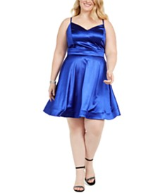 Teeze Me Juniors' Plus Size Satin Fit & Flare Dress