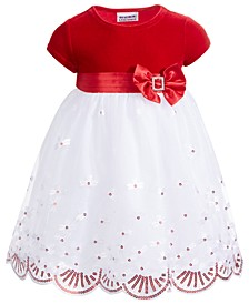 Little Girls Velvet Sequined Dress