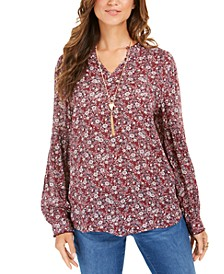 Floral-Print Peasant Tunic Top, Created for Macy's
