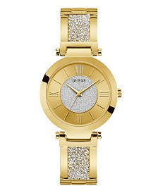 GUESS Women's Gold-Tone Stainless Steel & Swarovski Crystal Bangle Bracelet Watch 36mm