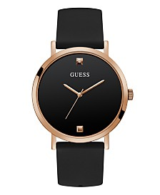 GUESS Men's Diamond-Accent Black Silicone Strap Watch 44mm, Created For Macy's