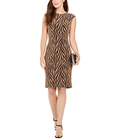 Sleeveless Printed Metallic Sheath Dress