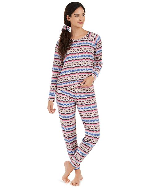 Jenni Printed Pajamas & Hair Scrunchie 3pc Set, Created For Macy's