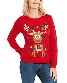 Sequined Tangled Reindeer Sweater, Created For Macy's