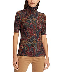 Paisley-Print Turtleneck Stretch Top