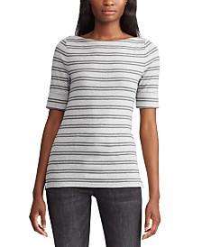 Lauren Ralph Lauren Stripe-Print Boatneck Stretch Top