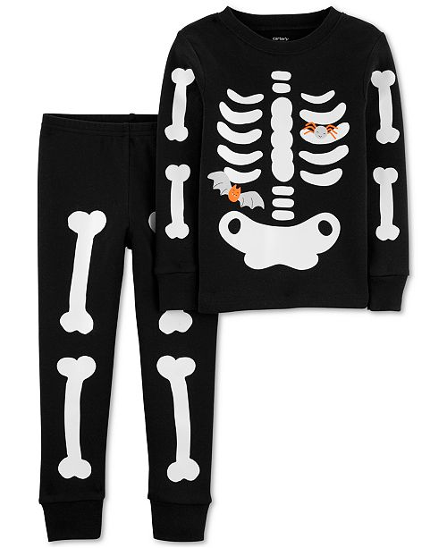 Carter's Toddler Boys 2-Pc. Cotton Glow-In-The-Dark Skeleton Pajama Set