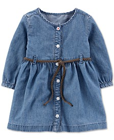 Baby Girls Belted Denim Shirtdress