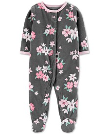 Carter's Baby Girls Floral Snap-Up Fleece Coveralls