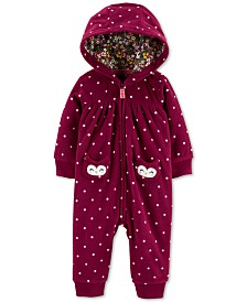Carter's Baby Girls Owl Hooded Zip-Up Fleece Jumpsuit