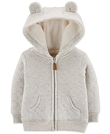 Baby Girls Quilted Fur-Lined Hoodie