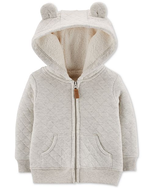 Carter's Baby Girls Quilted Fur-Lined Hoodie