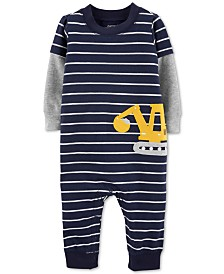 Carter's Baby Boys Striped Construction Truck Cotton Jumpsuit