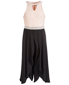 Beautees Big Girls Plus-Size Embellished Lace Jumpsuit