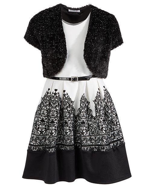 Beautees Big Girls 2-Pc. Flocked Dress & Glitter Faux-Fur Jacket Set