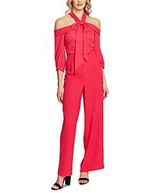 Cold-Shoulder Tie-Neck Jumpsuit