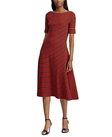 Stripe-Print Boatneck Fit & Flare Dress