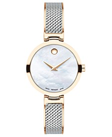 Women's Swiss Amika Two-Tone Stainless Steel Mesh Bangle Bracelet Watch 27mm
