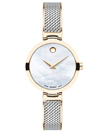 Movado Women's Swiss Amika Two-Tone Stainless Steel Mesh Bangle Bracelet Watch 27mm