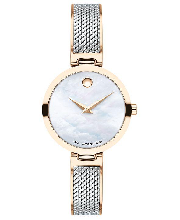 Movado Women's Swiss Amika Two-Tone Stainless Steel Mesh Bangle Bracelet Watch 27mm