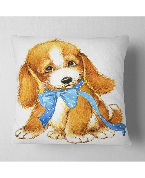"Design Art Designart Lovely Puppy Dog Watercolor Contemporary Animal Throw Pillow - 16"" X 16"""