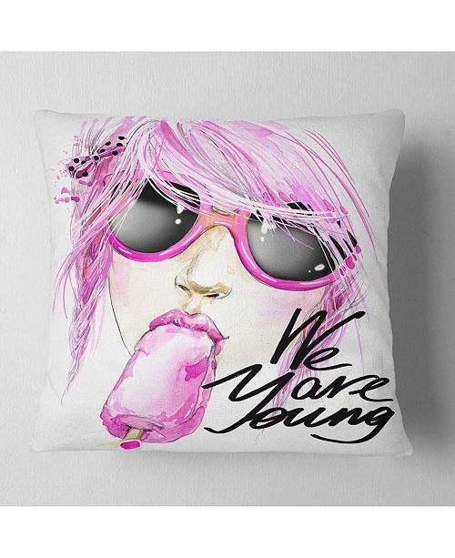 """Design Art Designart Sexy Pink Girl Eating Lollipop Modern Portrait Throw Pillow - 16"""" X 16"""""""