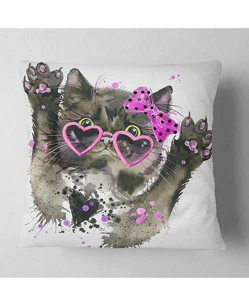 "Design Art Designart Funny Black Cat Illustration Animal Throw Pillow - 16"" X 16"""
