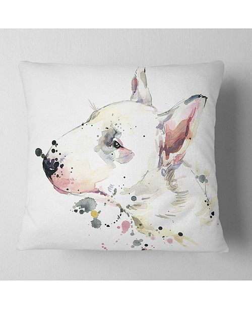 "Design Art Designart Bull Terrier Dog Watercolor Animal Throw Pillow - 16"" X 16"""