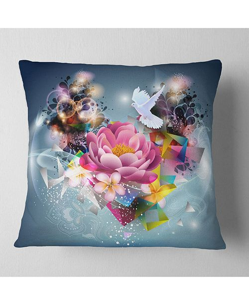 "Design Art Designart Flowers And Dove Abstract Design Floral Throw Pillow - 18"" X 18"""