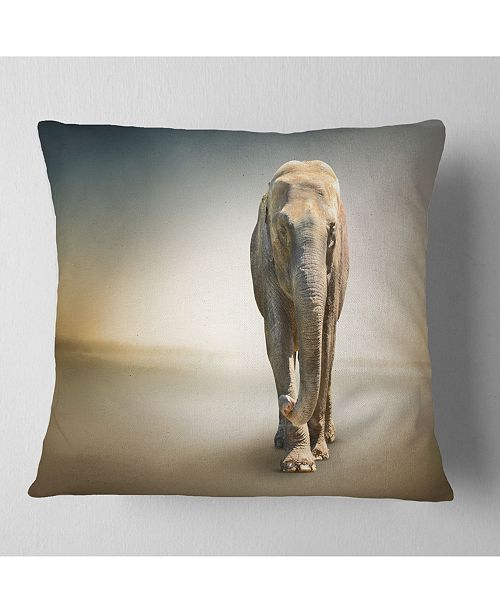 "Design Art Designart Smart Elephant Walking Animal Throw Pillow - 18"" X 18"""