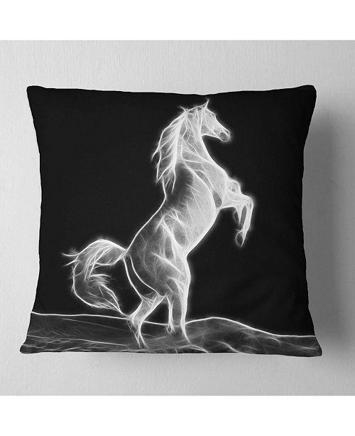 "Design Art Designart Large White Horse Sculpture Animal Throw Pillow - 16"" X 16"""