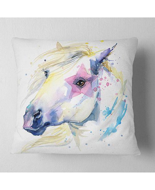 "Design Art Designart Horse Illustration With Splash Animal Throw Pillow - 16"" X 16"""
