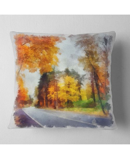 """Design Art Designart Road And Forest Sketch Watercolor Landscape Printed Throw Pillow - 16"""" X 16"""""""