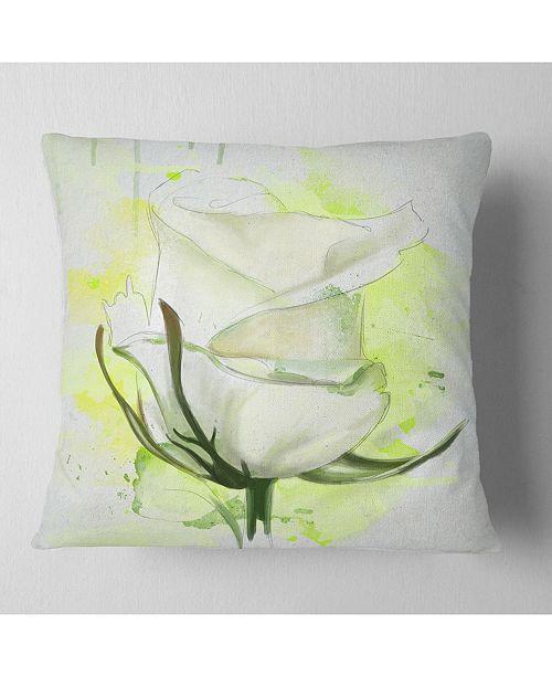 "Design Art Designart White Roses Watercolor Sketch Floral Throw Pillow - 18"" X 18"""