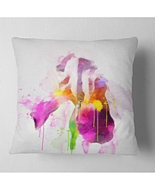 "Designart Purple Rose Illustration Watercolor Floral Throw Pillow - 18"" X 18"""