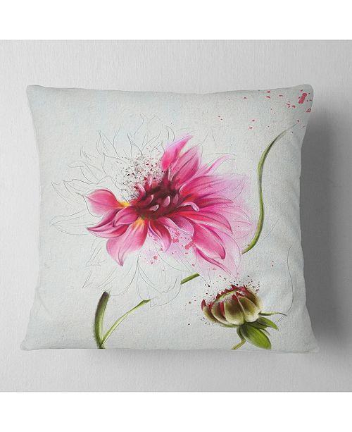 "Design Art Designart Pink Flower With Stem And Bud Floral Throw Pillow - 16"" X 16"""