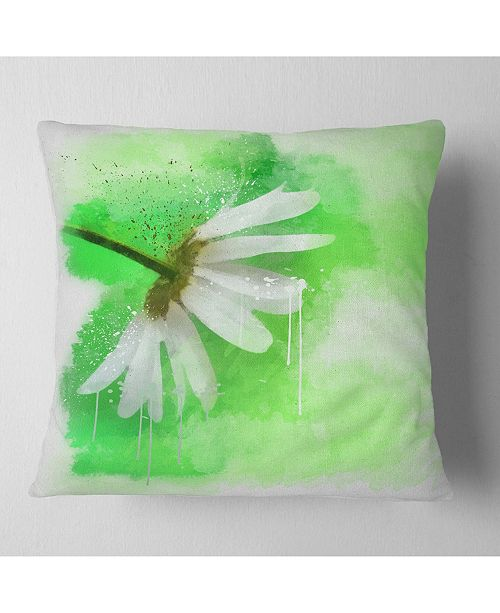 "Design Art Designart White Chamomile With Green Splashes Floral Throw Pillow - 18"" X 18"""