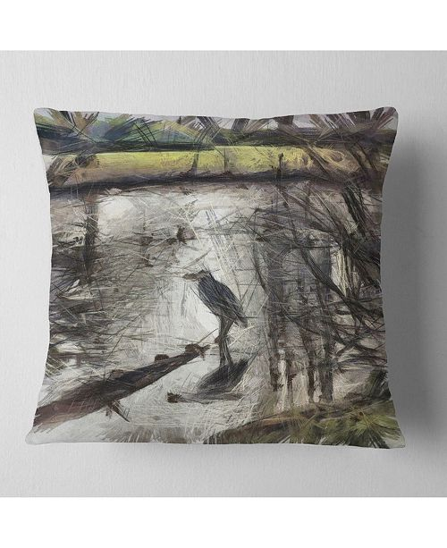 "Design Art Designart Bird In National Park Watercolor Landscape Printed Throw Pillow - 16"" X 16"""