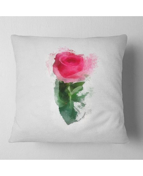 """Design Art Designart Beautiful Rose With Leaves Drawing Floral Throw Pillow - 18"""" X 18"""""""