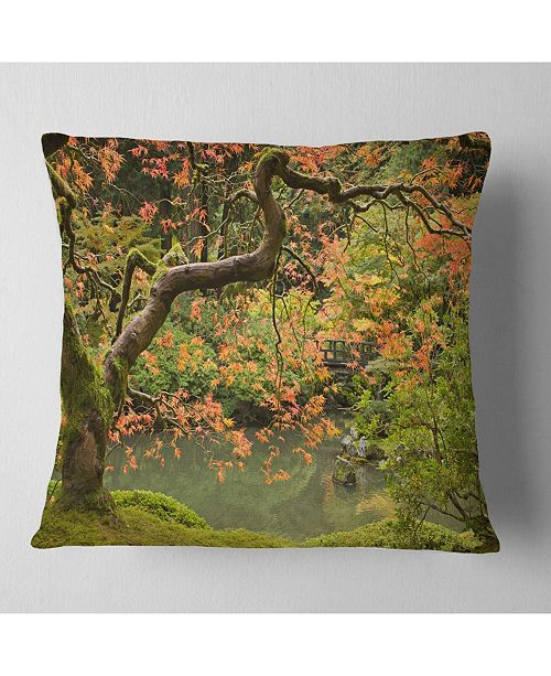 "Design Art Designart Japanese Garden Fall Season Landscape Printed Throw Pillow - 18"" X 18"""