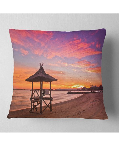 "Design Art Designart Lifeguard Station In Beautiful Beach Modern Seashore Throw Pillow - 16"" X 16"""