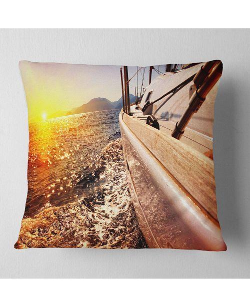 "Design Art Designart Yacht Sailing Against Sunset Seashore Throw Pillow - 16"" X 16"""