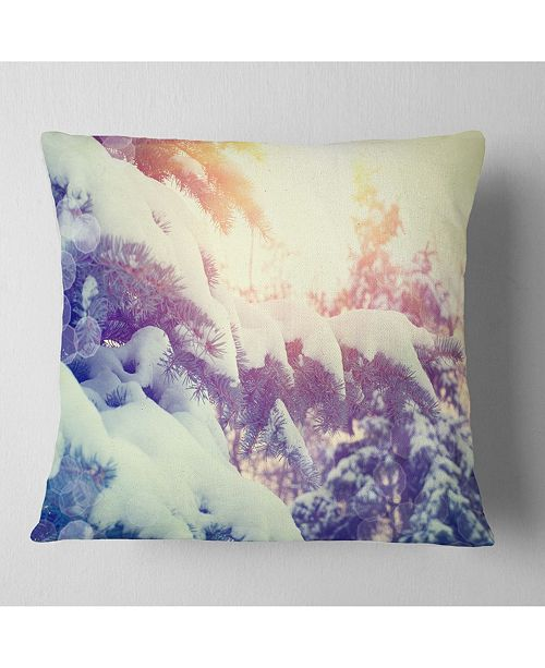 "Design Art Designart Winter Pine Trees In Mountains Landscape Printed Throw Pillow - 18"" X 18"""